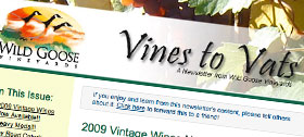 Wildgoose winery newsletter